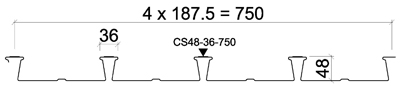CS48-36-750 для композитных перекрытий Steelcomp