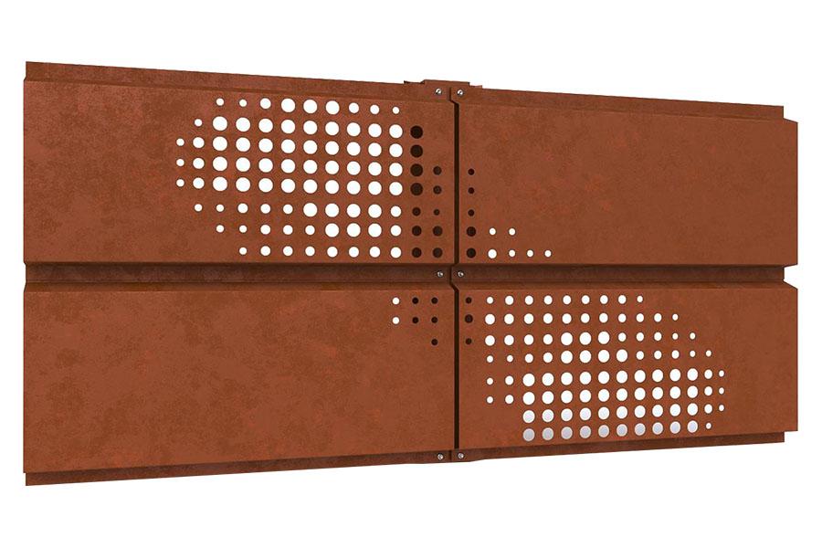 фасадные кассеты Кортен с перфорацией