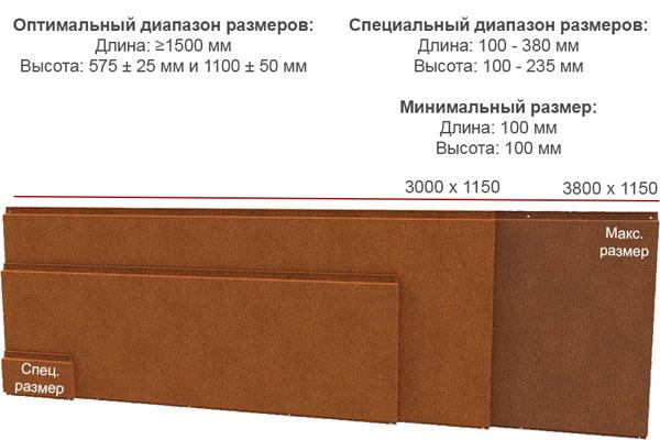 размеры кассет cor-ten 600