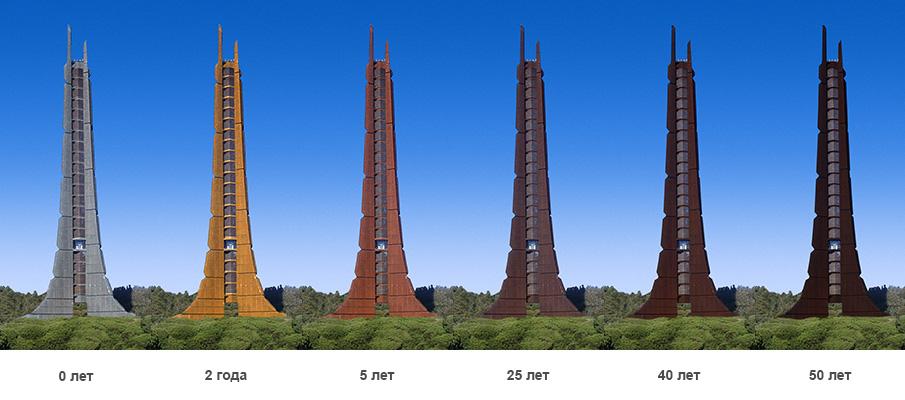 Изменение цвета стали Cor-Ten со временем, Мемориальная башня столетия Хоккайдо, Япония