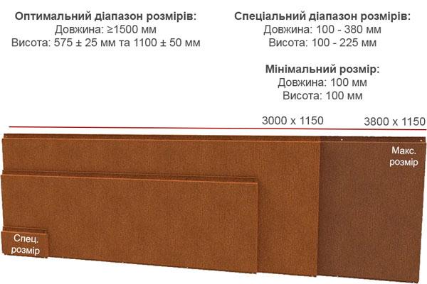 розміри касет liberta cor-ten 600