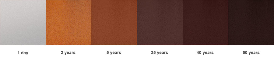 Change of the Cor-ten steel oxide layer colour in the course of time