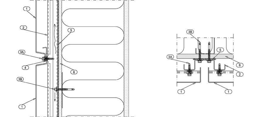 Рис. 1 Горизонтальный стык фасадных кассет Кортен, вертикальный разрез (слева). Вертикальный стык фасадных кассет Кортен, горизонтальный разрез (справа).
