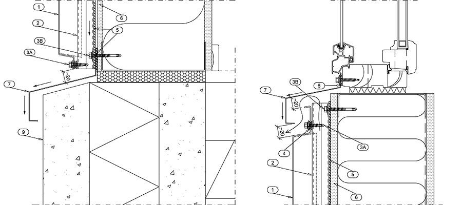Рис. 2 Нижняя кромка фасадной конструкции с кассетой Кортен, примыкание к цоколю и отвод воды (слева). Примыкание фасадной конструкции с кассетой Кортен к окну, вертикальный разрез по низу окна (справа).
