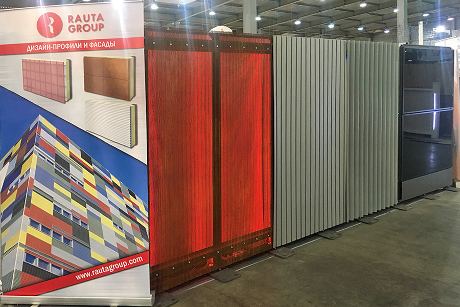 Rauta uses perforated facade claddings with built-in light system to decorate its booth at InterBuildExpo