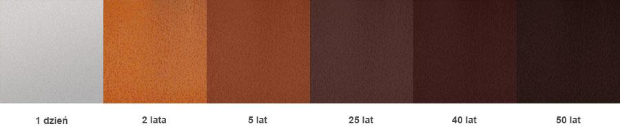 Zmiany koloru warstwy tlenku na stali Cor-ten z czasem w środowisku wiejskim
