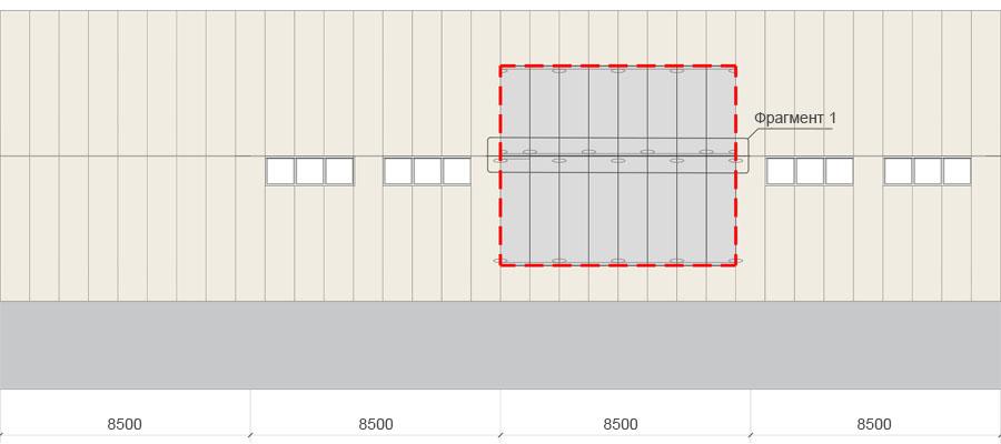 Фасад ЛСК с вертикальными сэндвич-панелями